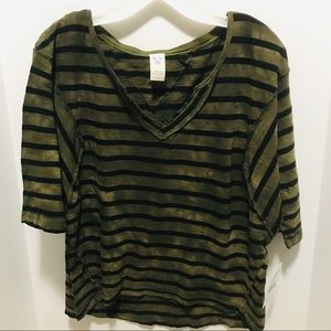 NWT Free People Head in the Clouds stripe Tee Sz S